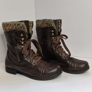 Crown Vintage Lace Up Sweater Boots Brown Size 6